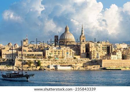 View of Marsamxett Harbour and Valletta. Malta  - stock photo