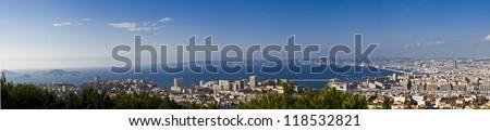 View of Marseille from Notre Dame de la Garde - stock photo