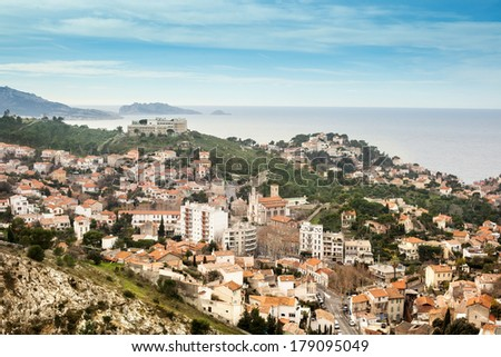 view of Marseille, the city, the sky, the sea - stock photo