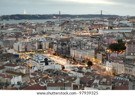 View of Martim moniz square and Lisbon downtown - stock photo