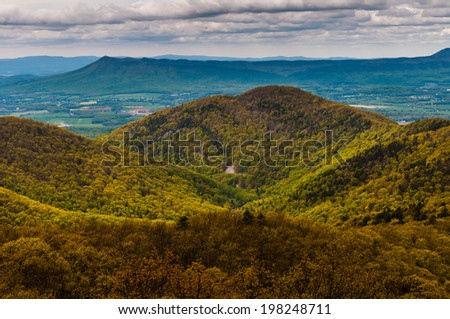 View of Massanutten Peak and the Blue Ridge Mountains from Skyline Drive in Shenandoah National Park, Virginia. - stock photo