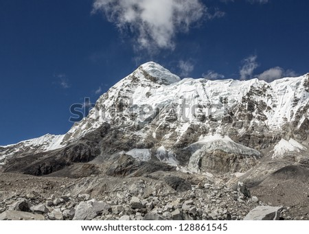 View of massif of the peak Pumo Ri (7165 m) from Khumbu glacier (Everest Base Camp) - Nepal, Himalayas