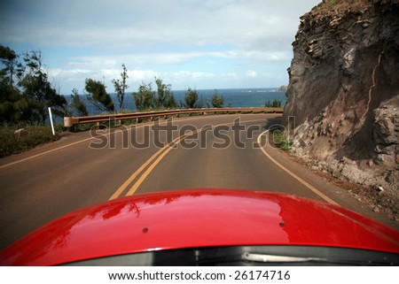 """view of maui from a convertiable rental car with """"room for text"""" - stock photo"""