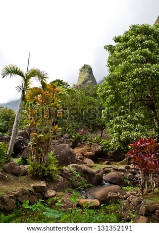 View of Maui's 'Iao Needle - stock photo