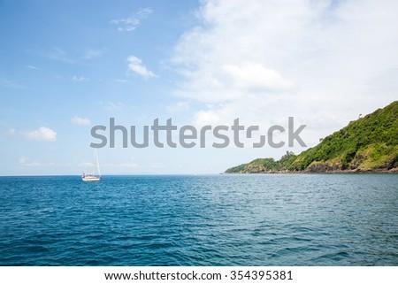 View of Maya Bay, Phi Phi island, Thailand, Phuket. Seascape of tropical island with resorts -  Krabi Province - stock photo