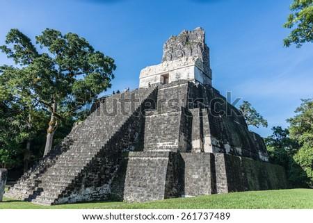 View of Mayan historic building at Tikal Jungle. Guatemala. - stock photo