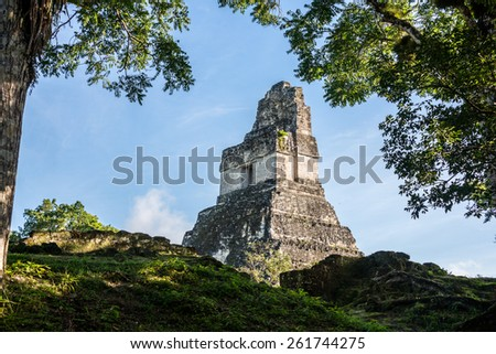 View of Mayan historic building at Tikal Jungle. Guatemala. - stock photo