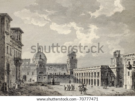 View of Mazara Cathedral and main square. By Desprez and Berthault, published on Voyage Pittoresque de Naples et de Sicilie,  J. C. R. de Saint Non, Imprimerie de Clousier, Paris, 1786 - stock photo