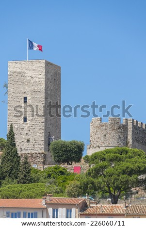 View of medieval Castre Castle. Castre Museum was set up in former Castre Castle, built in 11th century and once inhabited by the Lerins priests. Suquet district in Cannes, Cote d'Azur, France.