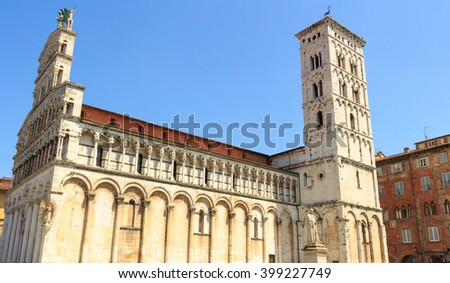 View of medieval cathedral San Michele. Lucca,Tuscany, Italy.