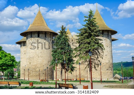 View of medieval fort in Soroca, Republic of Moldova. Fort  built in 1499 by Moldavian Prince Stephen the Great. Has been renovated in 2015 - stock photo