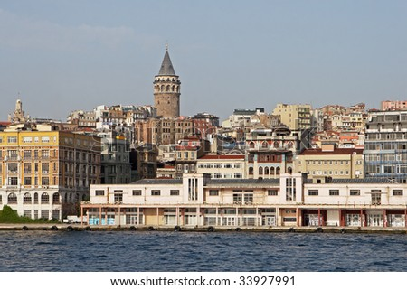 View of medieval Galata Tower and Golden Horn in Istanbul, Turkey - Beyoglu district - stock photo