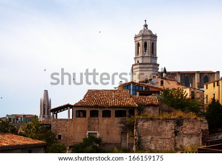 view of medieval Girona. Catalonia, Spain