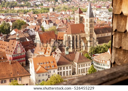 view of medieval town Esslingen am Neckar in Germany
