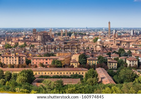 view of medieval town of Bologna in Italy - stock photo