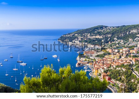 View of Mediterranean luxury resort and bay with yachts. Nice, Cote d'Azur, France. French Riviera - turquoise sea and perfect recreation. - stock photo