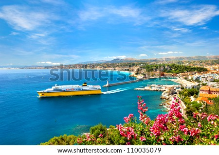 View of mediterranean resort, Nice, Cote d'Azur, France. french riviera - stock photo