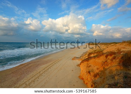 view of mediterranean sea in Israel at evening
