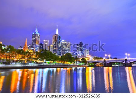 View of Melbourne skyline at night - stock photo