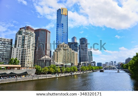View of Melbourne skyline in summer - stock photo