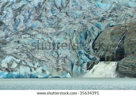 View of Mendenhall Glacier and Waterfall, Juneau, Alaska - stock photo