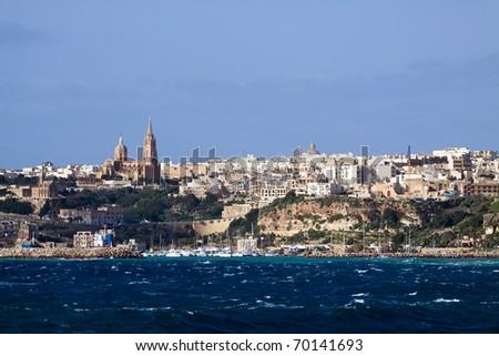 View of Mgarr, Gozo. (Maltese islands) - stock photo
