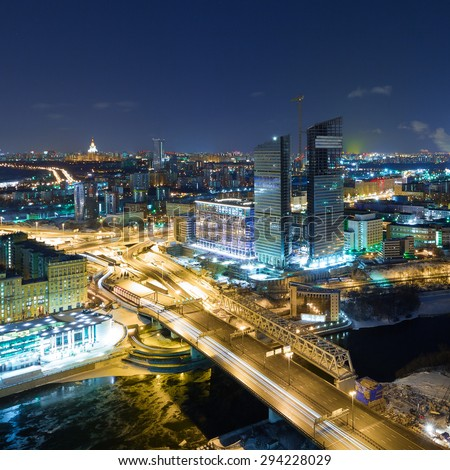 View of Mirax Plaza and Third Ring Road at night, Moscow - stock photo