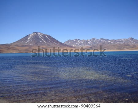 View of Miscanti Lagoon, Chile - stock photo