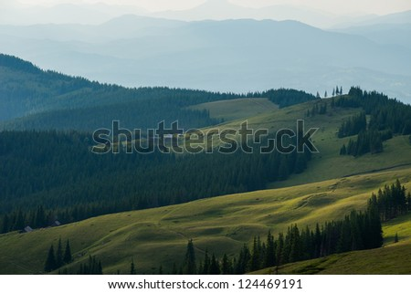 View of misty fog mountains in autumn, Carpathians, Ukraine - stock photo