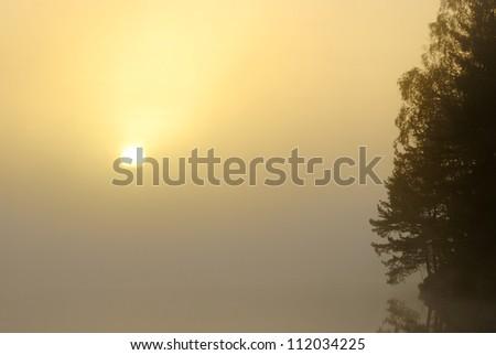 View of misty lake at sunrise - stock photo
