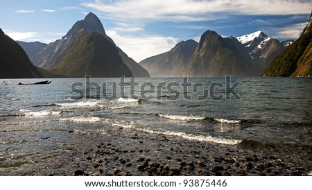 View of Mitre Peak with Mildford Sound - stock photo