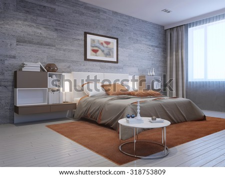 View of modern bedroom interior. Luxury double bed with white headboard and furniture mounted on both sides in white and taupe colors. 3D render - stock photo