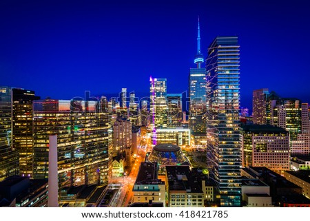 View of modern buildings at twilight in downtown Toronto, Ontario. - stock photo