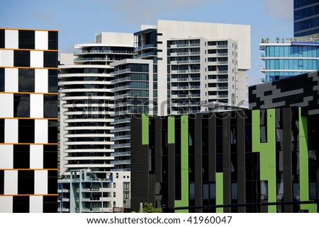View of modern city architecture with many building styles and colors - stock photo