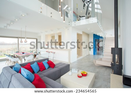 View of modern interior with color elements