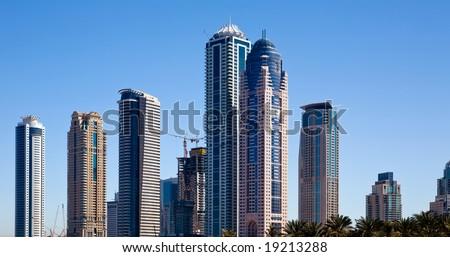 View of modern skyscraper in Dubai, UAE - stock photo