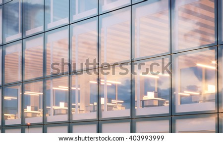 View of modern skyscraper. Modern office interior in night time. Panoramic windows facade background, contemporary business center. Empty meeting room. Real horizontal mockup,flares. 3d rendering