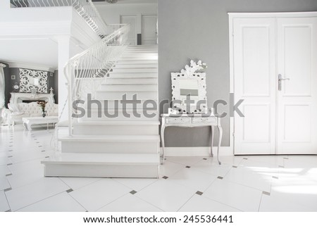 View of modern white and gray interior - stock photo