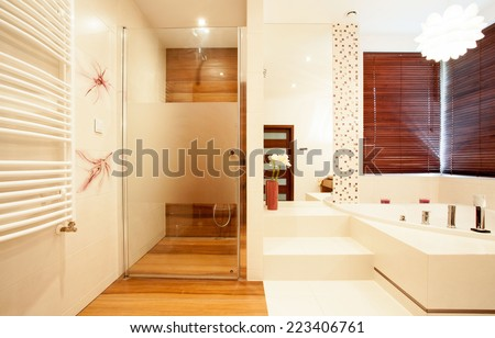 View of modern wooden shower in bathroom - stock photo