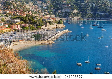 View of Monaco and many yachts. Summer coastline - stock photo