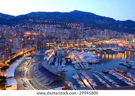 View of Monaco at night - stock photo