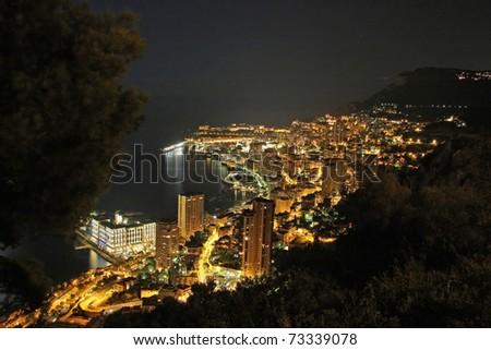 View of Monaco at night - stock photo