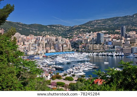 view of monaco bay with luxury boats - stock photo