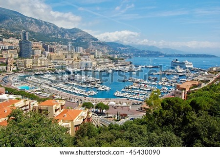 View of Monaco harbor, Monte Carlo - stock photo