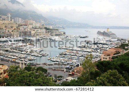 View of Monaco harbour, Monte Carlo - stock photo