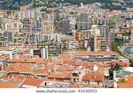 View of Monaco, Monte Carlo. A lot of buildings on a very small area. - stock photo