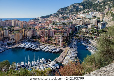 View of monaco port in Fontvielle from the village, daytime, landscape view - stock photo