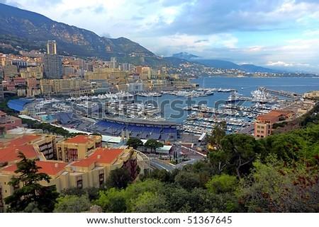 View of Monaco prepared for F1 Gradn Prix - stock photo