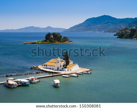 View of Monastery and Mouse island in Corfu, Greece - stock photo