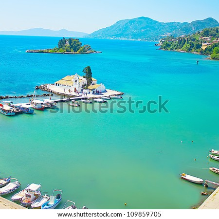 View of Monastery and Mouse island on Corfu, Greece - stock photo